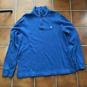 Polo quarter zip pull over sweater men M blue